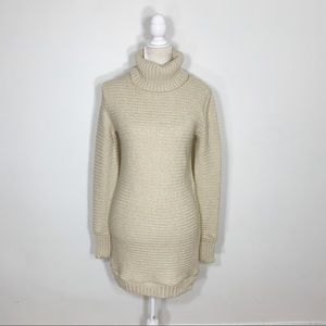 ASOS beige chunky knit turtleneck sweater dress